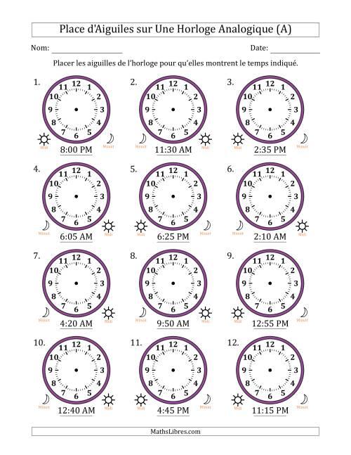 La Place d'Aiguiles sur Une Horloge Analogique avec 5 Minutes d'Intervalle (12 Horloges) (A) Fiche d'Exercices sur la Mesure de Temps