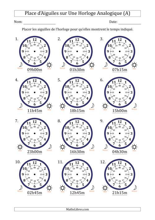 La Place d'Aiguiles sur Une Horloge Analogique avec 15 Minutes d'Intervalle (12 Horloges) (A) Fiche d'Exercices sur la Mesure de Temps