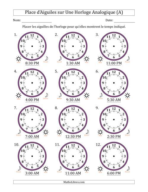 La Place d'Aiguiles sur Une Horloge Analogique avec 30 Minutes d'Intervalle (12 Horloges) (A) Fiche d'Exercices sur la Mesure de Temps