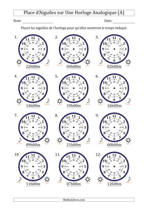 La Place d'Aiguiles sur Une Horloge Analogique avec 60 Minutes d'Intervalle (12 Horloges) (A) Fiche d'Exercices sur la Mesure de Temps