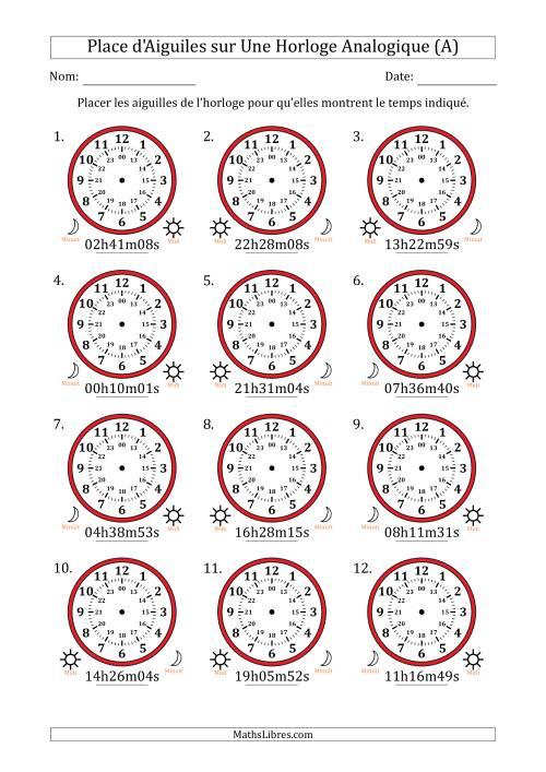 La Place d'Aiguiles sur Une Horloge Analogique avec 1 Minute & Seconde d'Intervalle (12 Horloges) (A) Fiche d'Exercices sur la Mesure de Temps