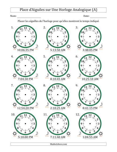 La Place d'Aiguiles sur Une Horloge Analogique avec 5 Minutes  & Secondes d'Intervalle (12 Horloges) (A) Fiche d'Exercices sur la Mesure de Temps