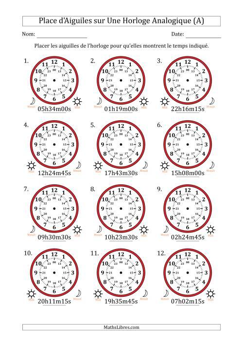 La Place d'Aiguiles sur Une Horloge Analogique avec 15 Minutes & Secondes d'Intervalle (12 Horloges) (A) Fiche d'Exercices sur la Mesure de Temps
