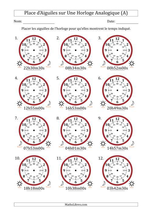 La Place d'Aiguiles sur Une Horloge Analogique avec 30 Minutes & Secondes d'Intervalle (12 Horloges) (A) Fiche d'Exercices sur la Mesure de Temps