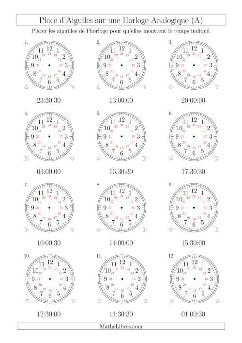 La Place d'Aiguiles sur Une Horloge Analogique avec 60 Minutes & Secondes d'Intervalle (12 Horloges) (A) Fiche d'Exercices sur la Mesure de Temps