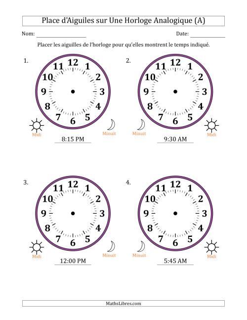 La Place d'Aiguiles sur Une Horloge Analogique avec 15 Minutes d'Intervalle (4 Horloges) (A) Fiche d'Exercices sur la Mesure de Temps