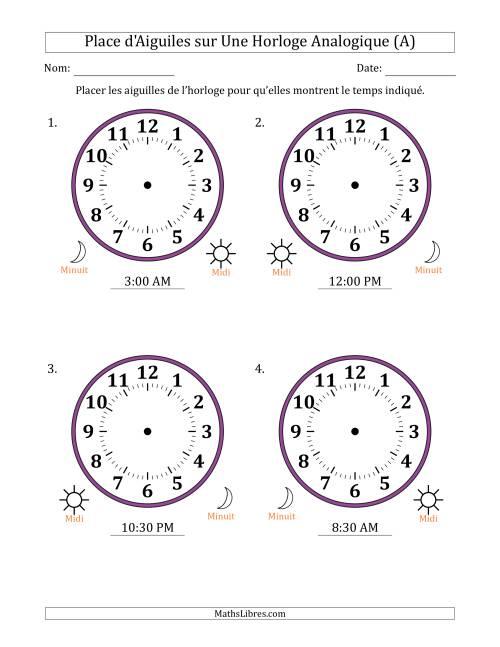 La Place d'Aiguiles sur Une Horloge Analogique avec 30 Minutes d'Intervalle (4 Horloges) (A) Fiche d'Exercices sur la Mesure de Temps
