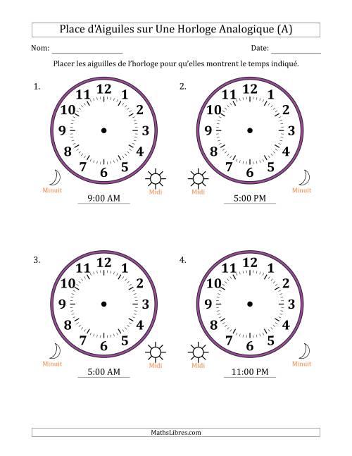 La Place d'Aiguiles sur Une Horloge Analogique avec 60 Minutes d'Intervalle (4 Horloges) (A) Fiche d'Exercices sur la Mesure de Temps