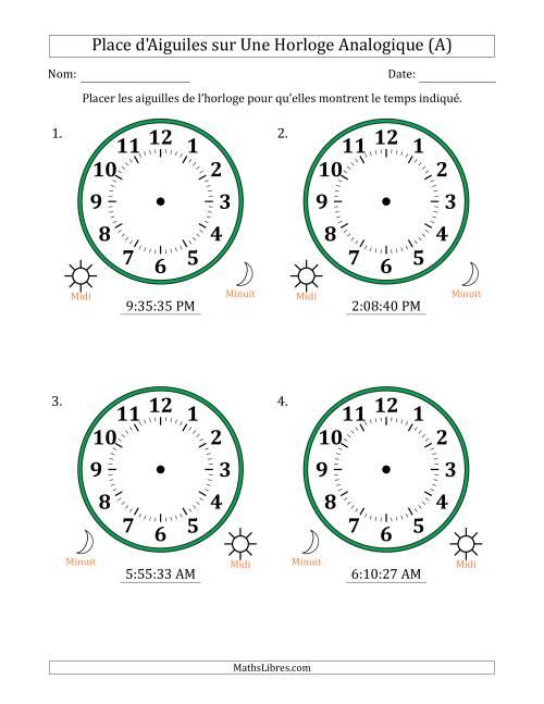 La Place d'Aiguiles sur Une Horloge Analogique avec 1 Minute  Seconde d'Intervalle (4 Horloges) (A) Fiche d'Exercices sur la Mesure de Temps
