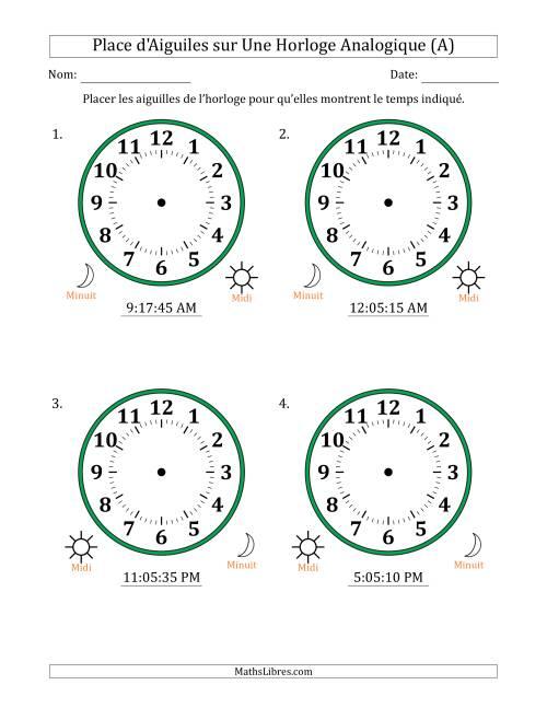 La Place d'Aiguiles sur Une Horloge Analogique avec 5 Minutes  & Secondes d'Intervalle (4 Horloges) (A) Fiche d'Exercices sur la Mesure de Temps