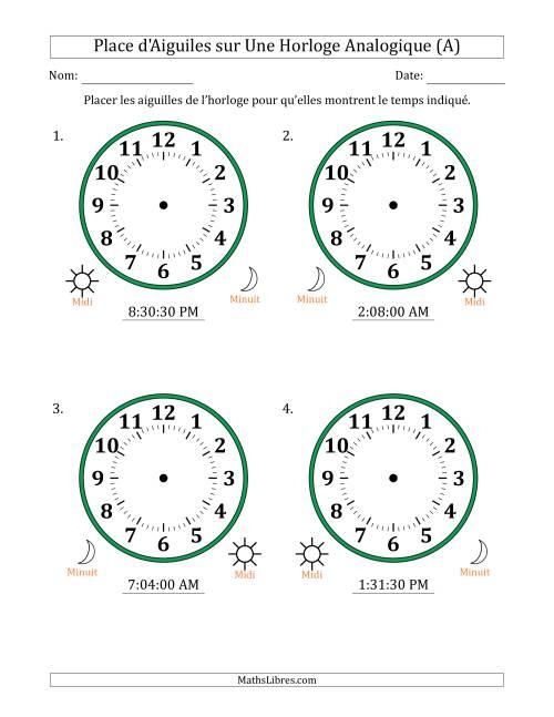 La Place d'Aiguiles sur Une Horloge Analogique avec 30 Minutes  & Secondes d'Intervalle (4 Horloges) (A) Fiche d'Exercices sur la Mesure de Temps