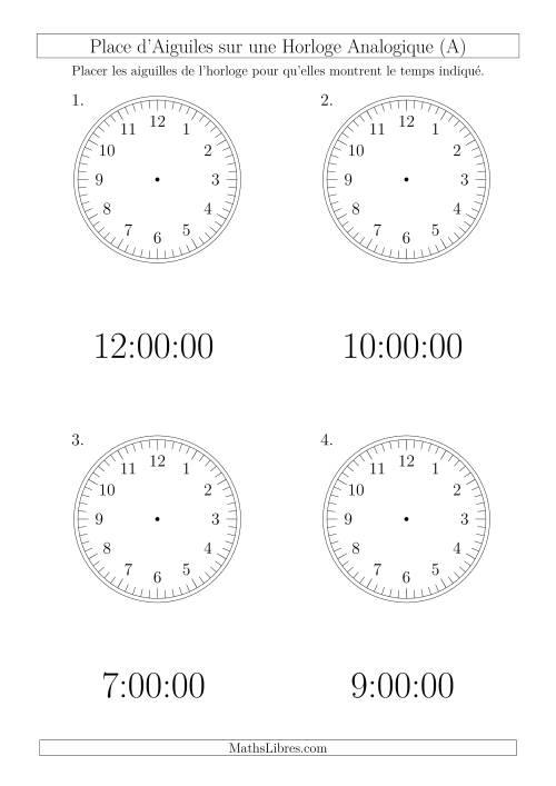 La Place d'Aiguiles sur Une Horloge Analogique avec 60 Minutes  & Secondes d'Intervalle (4 Horloges) (A) Fiche d'Exercices sur la Mesure de Temps