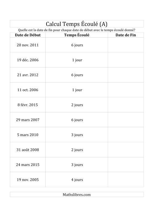La Trouvez la Date de Fin pour Chaque Nombre de Jours Écoulés (A) Fiche d'Exercices sur le Temps