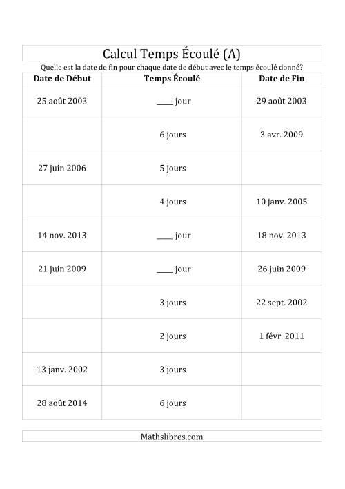 La Trouvez la Date de Début, Temps Écoulé ou Date de Fin (Jours) (A) Fiche d'Exercices sur le Temps