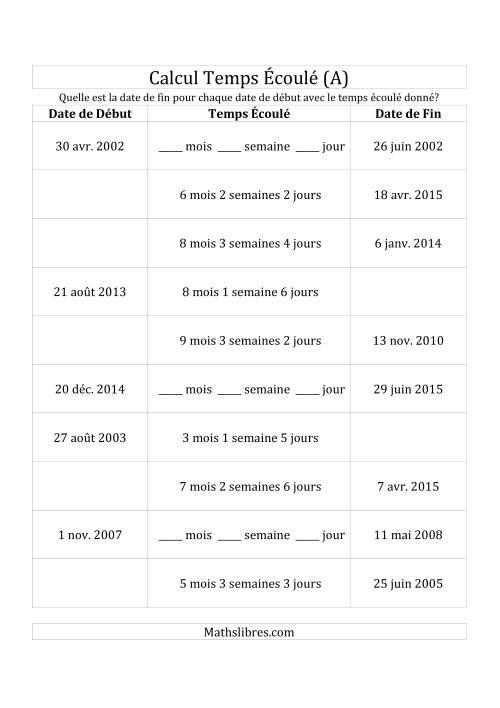 La Trouvez la Date de Début, Temps Écoulé ou Date de Fin (Jours, Semaines & Mois) (A) Fiche d'Exercices sur le Temps