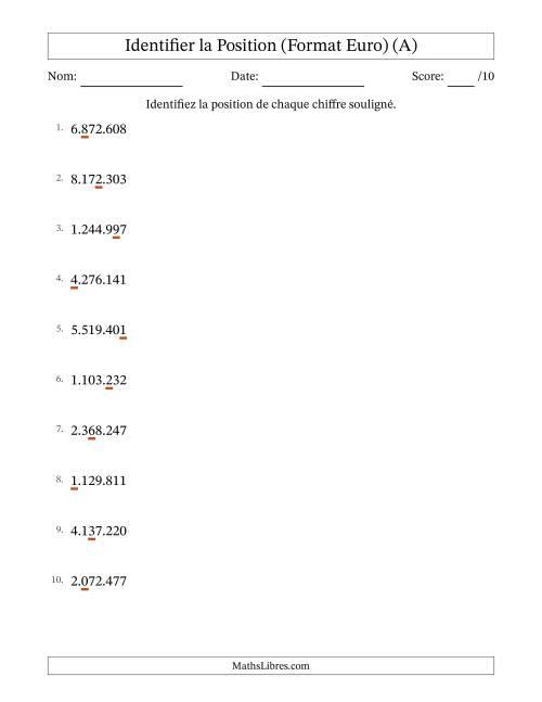 La Identifier la Place de Nombres (Jusqu'aux Millions) (A) Fiche d'Exercices sur la Valeur des Nombres